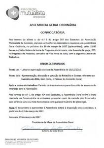 CONVOCATÓRIA ASSEMBLEIA GERAL ORDINÁRIA RELATÓRIO E CONTAS 2016